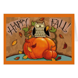Happy Fall Owl and Pumpkin Card