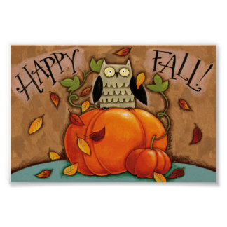Happy Fall Owl and Pumpkin Poster