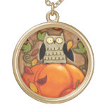 Happy Fall Owl and Pumpkin Round Pendant Necklace