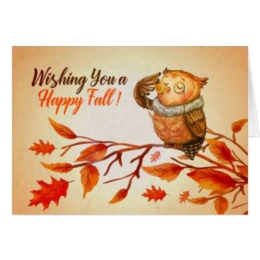 Halloween Themed Happy Fall Owl Greeting Card