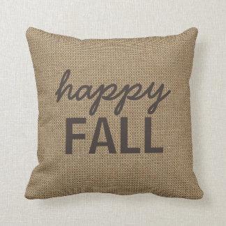 Happy Fall Pillow, Faux Burlap, You Customize Throw Pillow