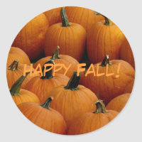 Happy Fall, pumpkins Classic Round Sticker
