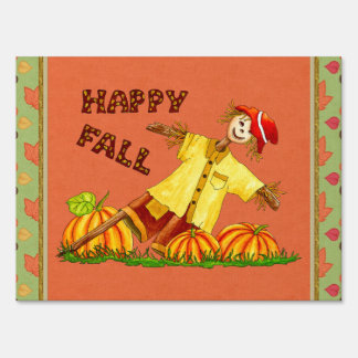 Happy Fall Scarecrow yard sign
