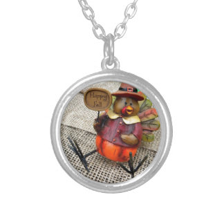 Happy Fall Turkey Silver Plated Necklace