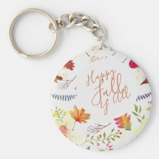 """""""Happy Fall Y' All"""" Watercolor Rustic Autumn Keychain"""