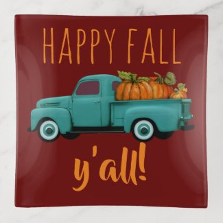 Happy Fall Y'all! Aqua Truck With Pumpkins Trinket Trays