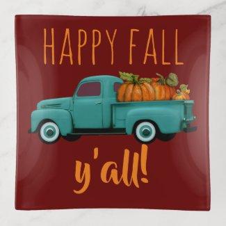 Happy Fall Y'all! Aqua Truck With Pumpkins Trinket Trays