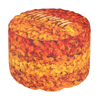 Happy Fall Y'all Autumn Fall Leaves Pouf