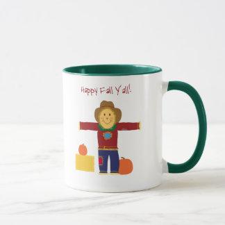 Happy Fall Y'all: Autumn scarecrow coffee mug