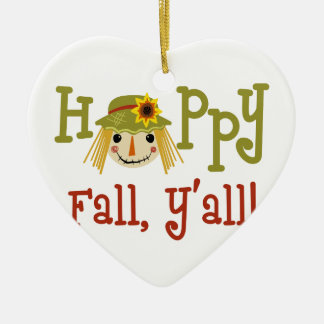 Happy Fall Yall Ceramic Ornament
