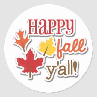 Happy Fall Ya'll Classic Round Sticker