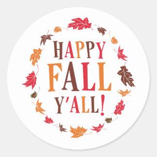 Happy Fall Y'all Classic Round Sticker
