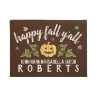Happy Fall Y'all Custom Rustic Autumn Pumpkin Leaf Doormat