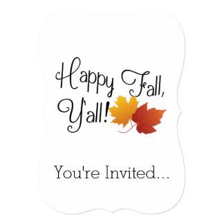 Happy Fall Ya'll It's Autumn Non-Halloween Harvest 5x7 Paper Invitation Card