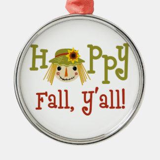Happy Fall Yall Metal Ornament