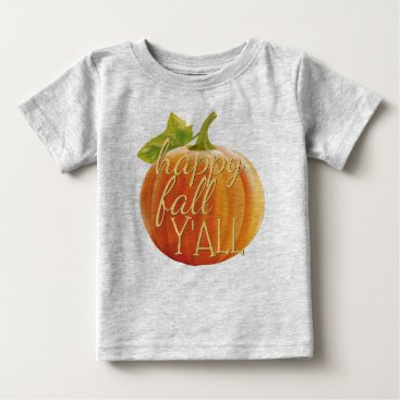 Halloween Themed Happy Fall Yall Orange Pumpkin Motif Baby T-Shirt