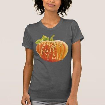 Halloween Themed Happy Fall Yall Orange Pumpkin Motif T-Shirt