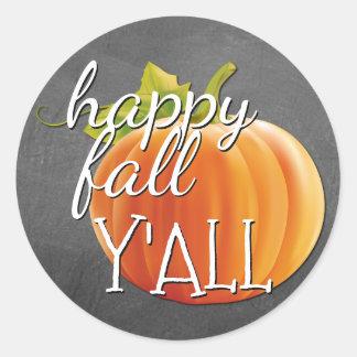 Happy Fall Yall Pumpkin On Blackboard Classic Round Sticker