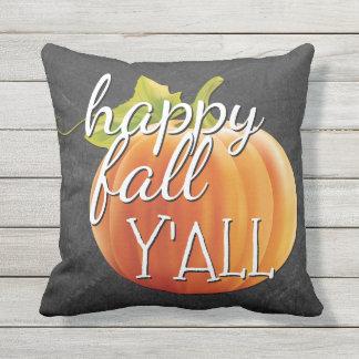 Happy Fall Yall Pumpkin On Chalkboard Outdoor Pillow