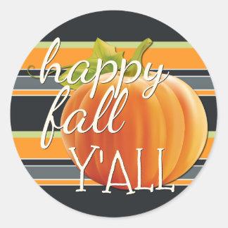 Happy Fall Yall Pumpkin On Vibrant Stripes Pattern Classic Round Sticker