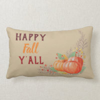 Happy Fall Y'All Pumpkin Patch & Autumn Berries Lumbar Pillow