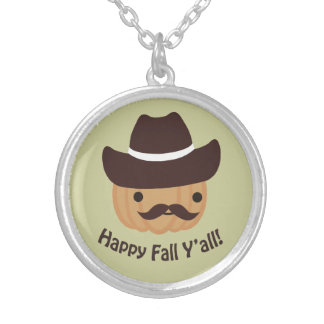 Happy Fall Y'all! Pumpkin Silver Plated Necklace