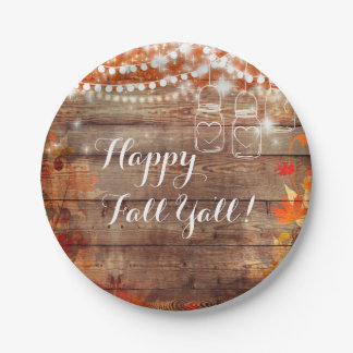 Happy Fall Ya'll Rustic Autumn Thanksgiving Plates