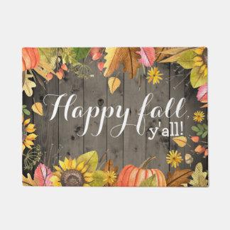Happy Fall Y'all Rustic Country Autumn Doormat