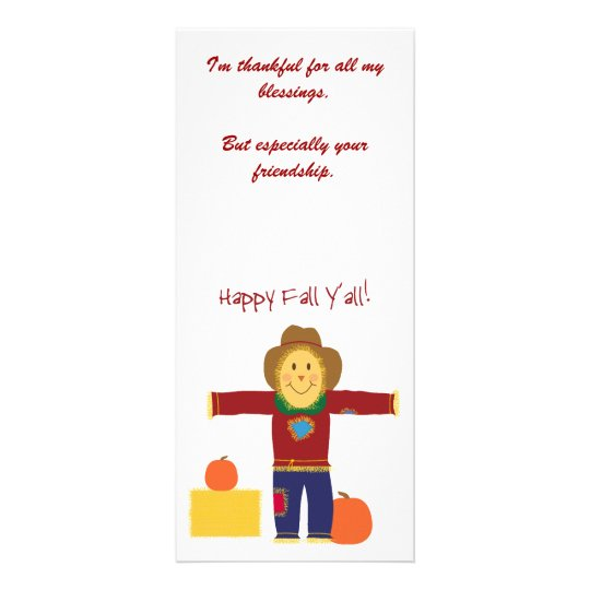 Happy Fall Y'all: Scarecrow Thanksgiving cards. Rack Card