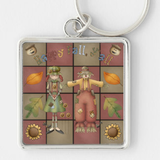 Happy Fall Yall Silver-Colored Square Keychain