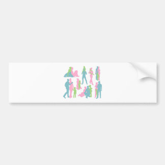 Happy family detailed silhouettes bumper stickers