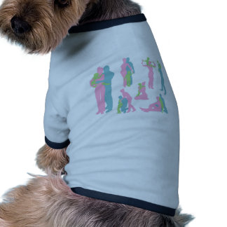 Happy family detailed silhouettes pet tee shirt