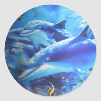 Happy Family Dolphins Classic Round Sticker