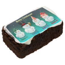 Happy Family Of Snowmen Customized With Your Text Brownie