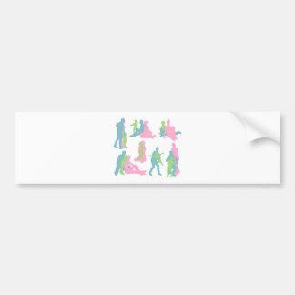 Happy family silhouettes bumper sticker