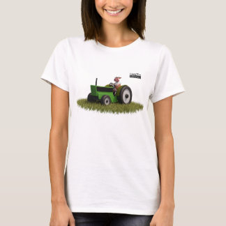 Happy Farm Animal Cow and motor tractor Green T-Shirt
