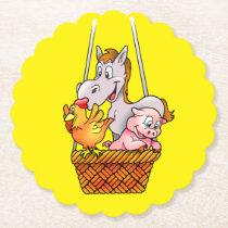 Happy Farm Animals Set of Sturdy Paper Coasters