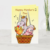 Happy Farm Animals Singing Mothers Day Card