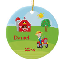 Happy Farm Boy Barn Tractor Animals Blonde Ceramic Ornament