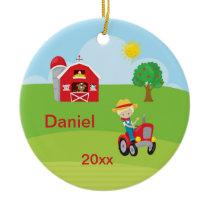 Happy Farm Boy Barn Tractor Animals Blonde Ceramic Ornament