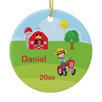 Happy Farm Boy Barn Tractor Animals Brown Ceramic Ornament