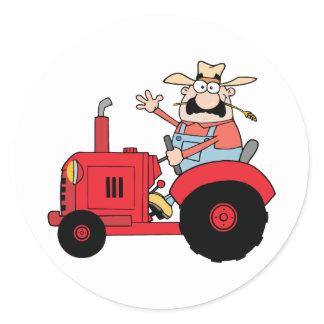 Happy Farmer Classic Round Sticker