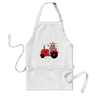 Happy Farmer In Red Tractor  Waving A Greeting Adult Apron