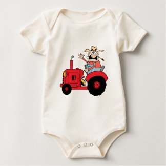 Happy Farmer In Red Tractor  Waving A Greeting Baby Bodysuit