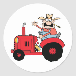 Happy Farmer In Red Tractor  Waving A Greeting Classic Round Sticker