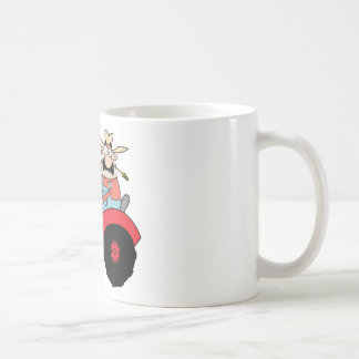 Happy Farmer In Red Tractor  Waving A Greeting Coffee Mug