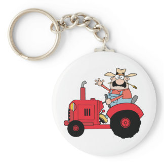 Happy Farmer In Red Tractor  Waving A Greeting Keychain