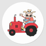 Happy Farmer In Red Tractor  Waving A Greeting Stickers