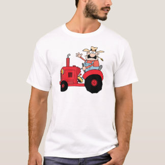 Happy Farmer In Red Tractor  Waving A Greeting T-Shirt