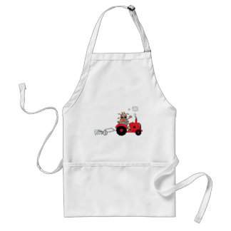 Happy Farmer using a Tractor Adult Apron